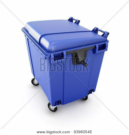 Blue Trash Can On Wheels