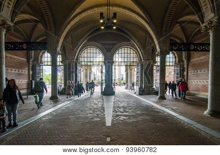 Amsterdam, Netherlands - May 6, 2015: People At Main Entrance Of The Rijksmuseum Passage.