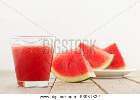 Fresh Watermelon Blending In Glass On Wood Table