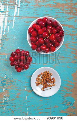 Sweet Cherry In Bowl On Rustic Table