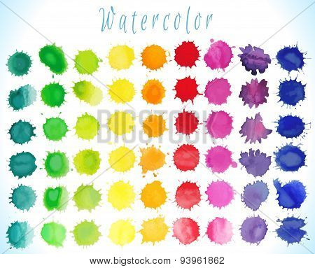 Watercolor  vector  splashes