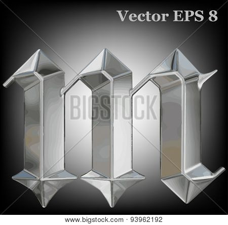 Vector letter m from metal gothic alphabet. Lovercase metal font collection EPS 8