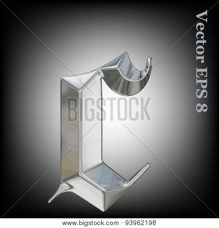 Vector letter c from metal gothic alphabet. Lovercase metal font collection EPS 8