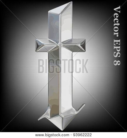 Vector letter t from metal gothic alphabet. Lovercase metal font collection EPS 8