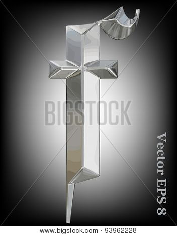 Vector letter f from metal gothic alphabet. Lovercase metal font collection EPS 8