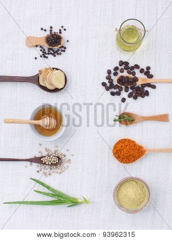 Herb Variety On Rustic White Background From Top View, Oil, Coffee, Beans, Pepper, Aloe Vera, Turmer