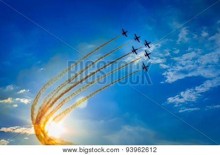 Airplanes on airshow