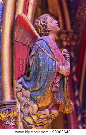 Angel Wood Carving Cathedral Sainte Chapelle Paris France