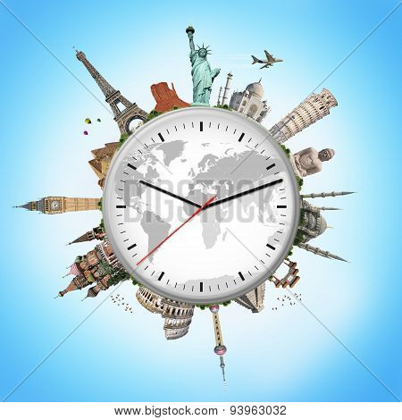 Illustration Of A Clock With Famous Monuments