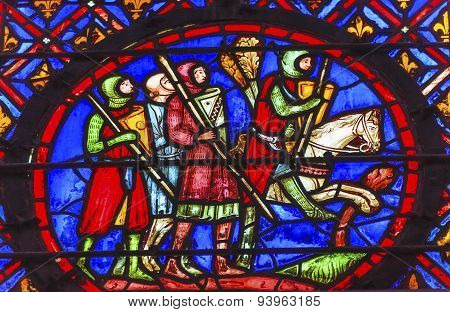 Knights Horse Stained Glass Sainte Chapelle Paris France