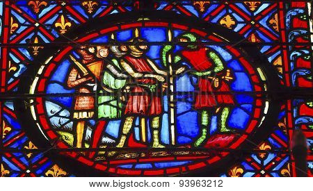 Knights Stained Glass Sainte Chapelle Paris France