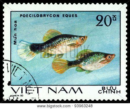 Vintage  Postage Stamp. Poecilobrycon Eques.