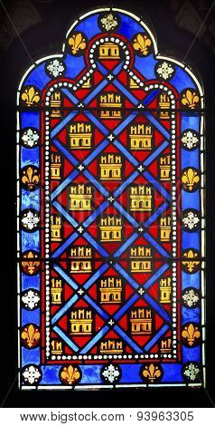 French Monarchy Symbols Stained Glass Sainte Chapelle Paris France