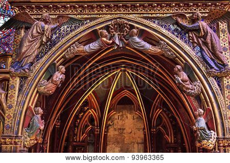 Angels Wood Carvings Cathedral Sainte Chapelle Paris France