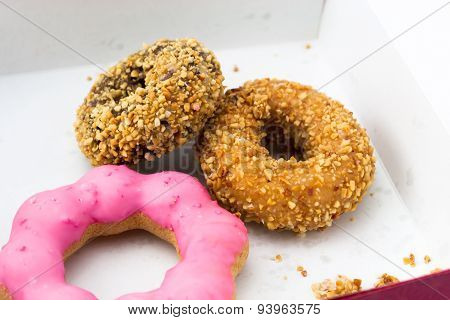 Donut In Red Square Paper Box
