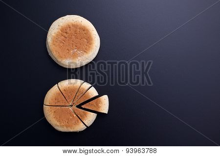 Bread Cutting In The Shape Of Pie Chart On Back Board