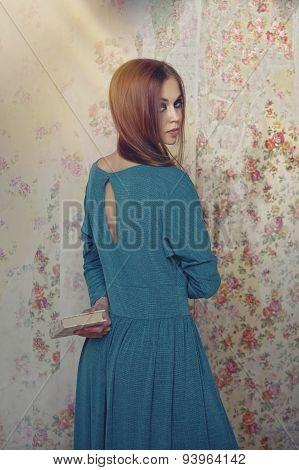 Female Model In A Book On Retro Background Wallpaper