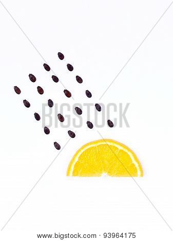 Weather Concept, Orange Shape Of Rainy Season. Part Of A Weather Forecast Series