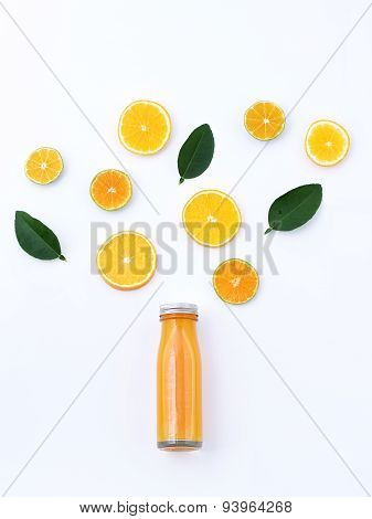Healthy Drink, Bottle Of Orange Juice With Slice Orange Fruit And Leaf