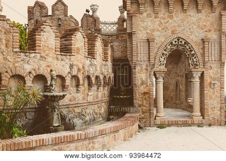 Part Of Colomares Castle In Benalmadena Town.