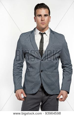 Fit White Lifestyle Male Model In Fashionable Suit