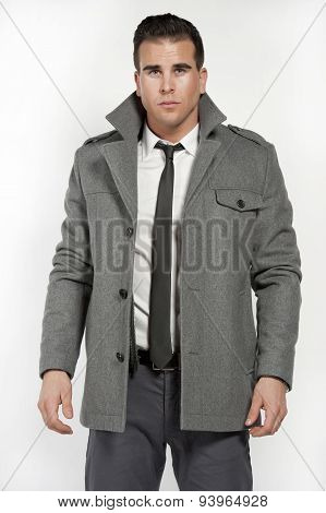 Athletic Caucasian Male in Fitted Shirt And Jacket
