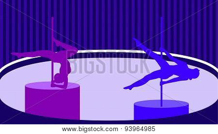Pole Dancers In Pole Dance Studio Flat Style.vector Illustration