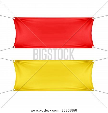 Red and Yellow Blank Empty Horizontal Banners