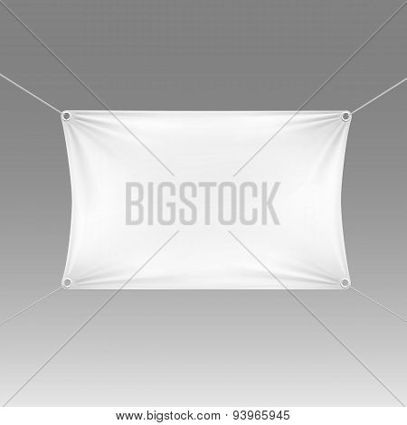 White Blank Empty Horizontal Rectangular Banner