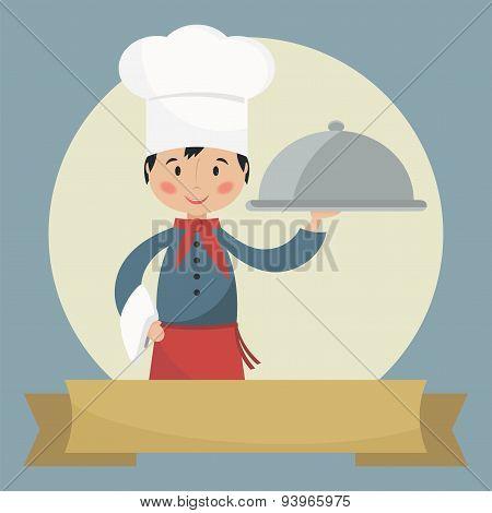 Chef Holding Silver Cloche.