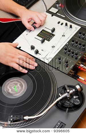 Hip-hop Dj Scratching The Vinyl Record
