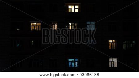 Included Light In The Windows In The Building