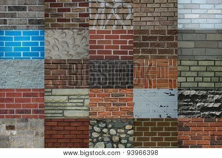 Collage showing different colors and texture of brick walls