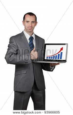 Business Man Show His Laptop Screen