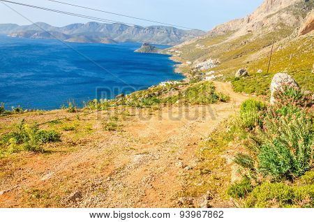 Greek beautiful wild landscape with mountain path