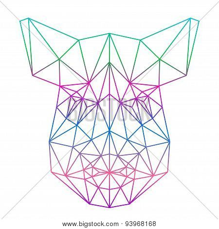 Polygonal Abstract Gradient Colored Wild Boar Silhouette Drawn In One Continuous Line