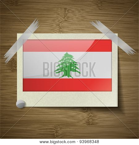 Flags Lebanon At Frame On Wooden Texture. Vector