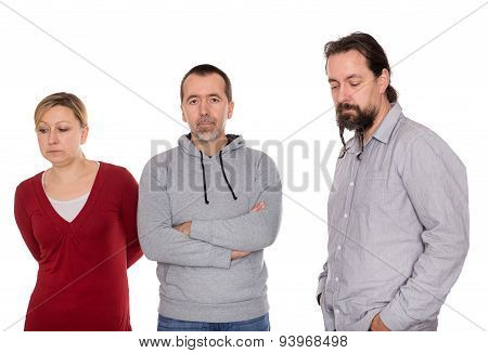 Three Isolated Persons Looking Seriously