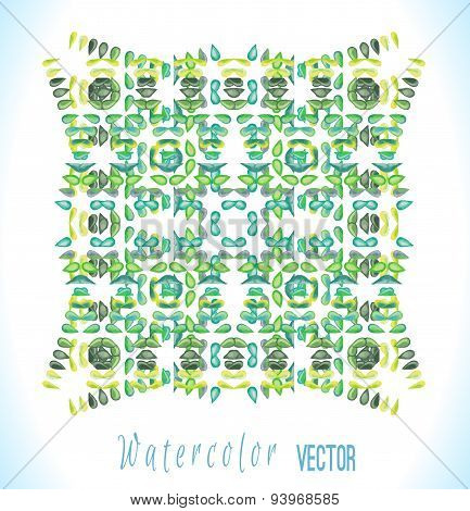 Vector watercolor ornament with colorful drops