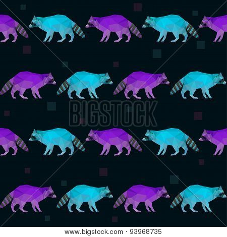 Abstract Polygonal Geometric Triangle Purple And Blue Raccoon Seamless Pattern