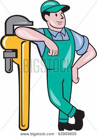 Plumber Leaning Monkey Wrench Isolated Cartoon