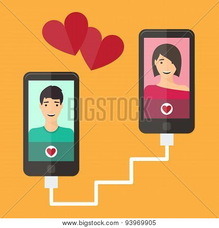 Internet dating, online flirt and relation. Mobile service, application