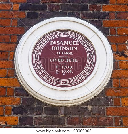 Dr Samuel Johnson Plaque In London