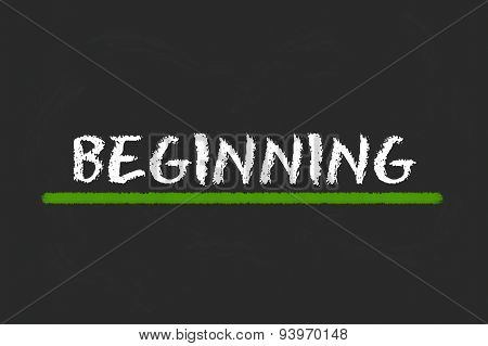 Beginning White Script On A Black Blackboard