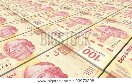 Mexican pesos bills stacks background.