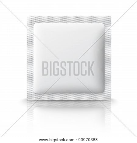 Blank plastic sachet for medicine, condoms, drugs, coffee, sugar, salt, spices, isolated on white ba