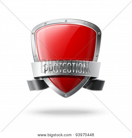 Blank red realistic glossy protection shield with silver ribbon and border. Vector