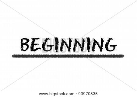 Beginning Black Script On A White Background