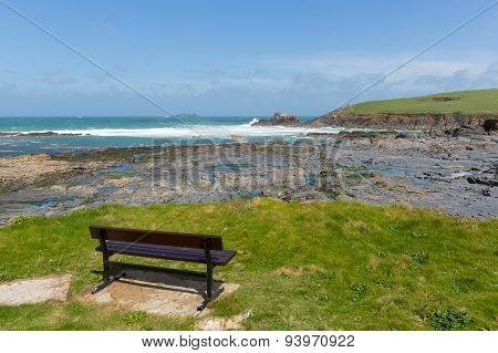 Rocky Cornish coastal view Newtrain Bay North Cornwall near Padstow and Newquay