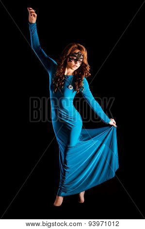 Gorgeous Young Lady Dancing In A Long Green Evening Dress